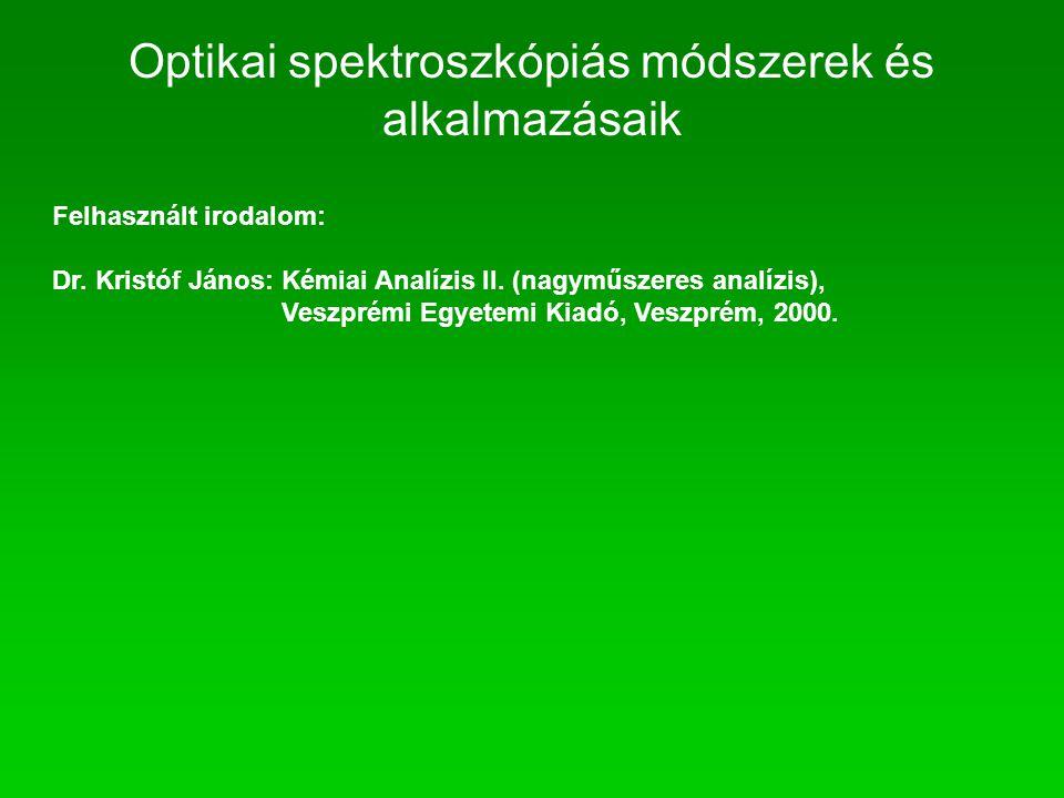 Felhasznált irodalom: Dr. Kristóf János: Kémiai Analízis II. (nagyműszeres analízis), Veszprémi Egyetemi Kiadó, Veszprém, 2000. Optikai spektroszkópiá