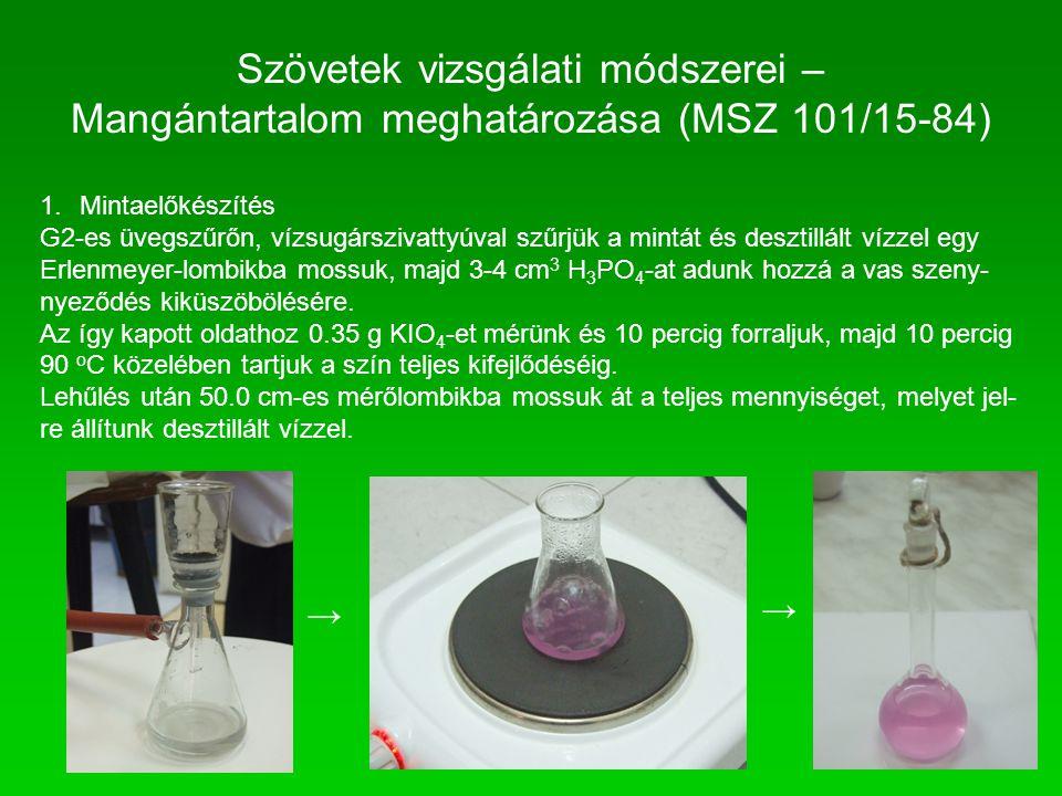 Szövetek vizsgálati módszerei – Mangántartalom meghatározása (MSZ 101/15-84) 1.Mintaelőkészítés G2-es üvegszűrőn, vízsugárszivattyúval szűrjük a mintá