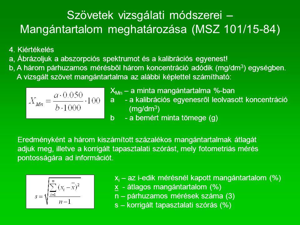 4. Kiértékelés a, Ábrázoljuk a abszorpciós spektrumot és a kalibrációs egyenest! b, A három párhuzamos mérésből három koncentráció adódik (mg/dm 3 ) e