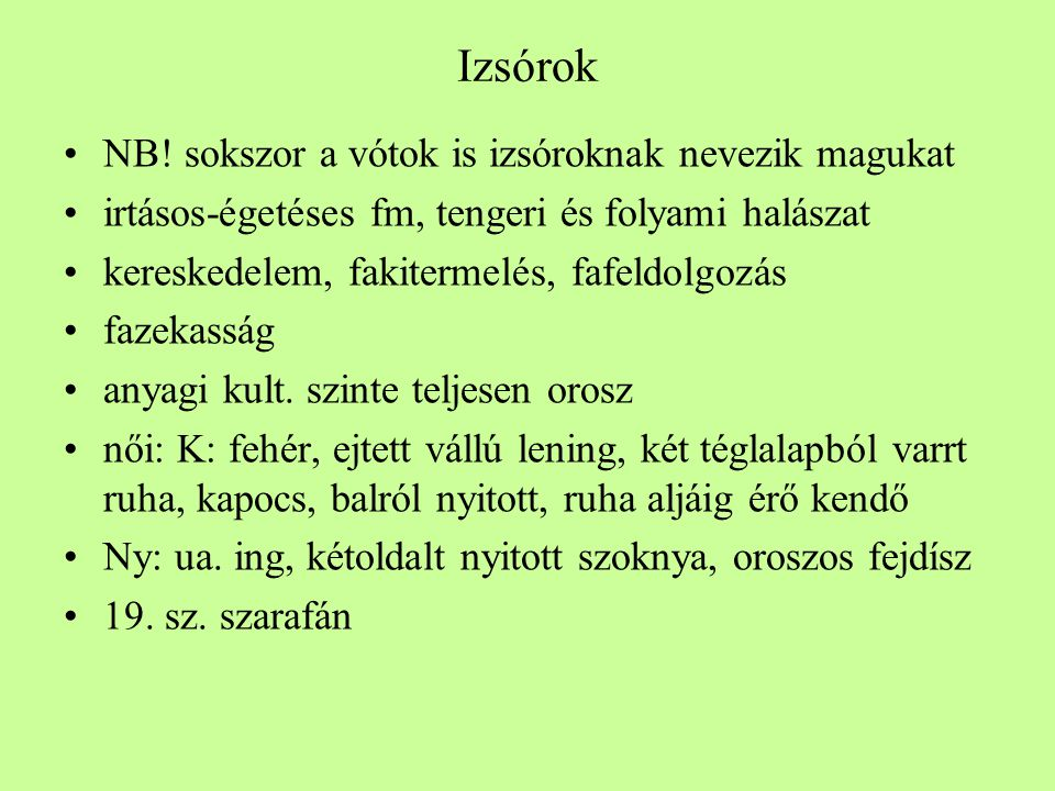 Izsórok •NB.
