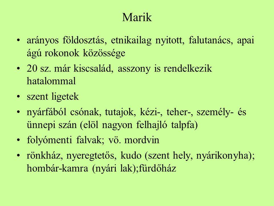Marik •arányos földosztás, etnikailag nyitott, falutanács, apai ágú rokonok közössége •20 sz.