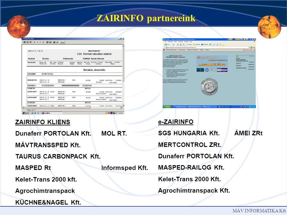 MÁV INFORMATIKA Kft. Teljesítmények leszámolása – ZAIR CONTROLLING