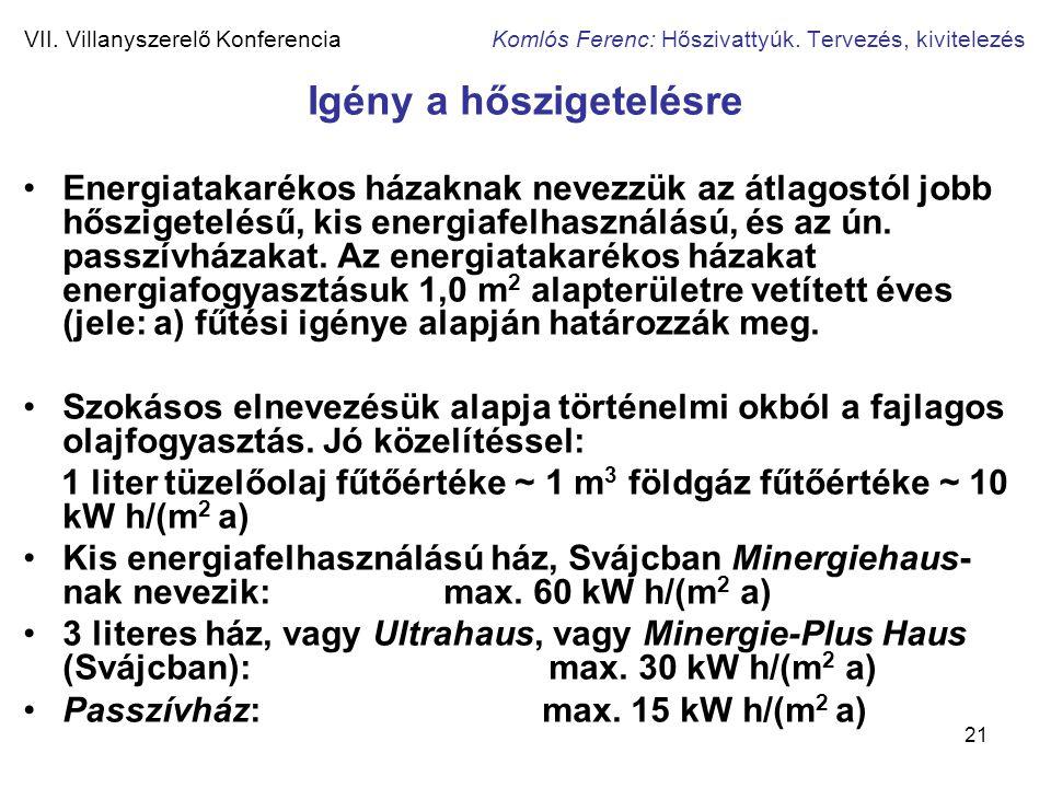 21 VII. Villanyszerelő Konferencia Komlós Ferenc: Hőszivattyúk. Tervezés, kivitelezés Igény a hőszigetelésre •Energiatakarékos házaknak nevezzük az át