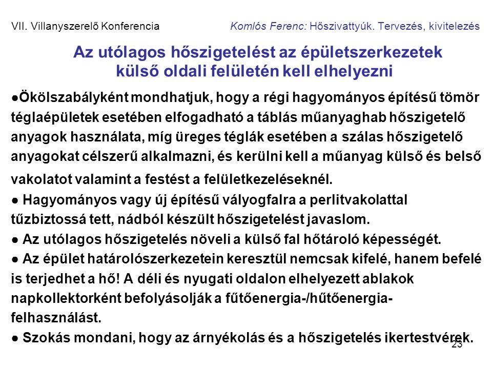 23 VII. Villanyszerelő Konferencia Komlós Ferenc: Hőszivattyúk. Tervezés, kivitelezés Az utólagos hőszigetelést az épületszerkezetek külső oldali felü