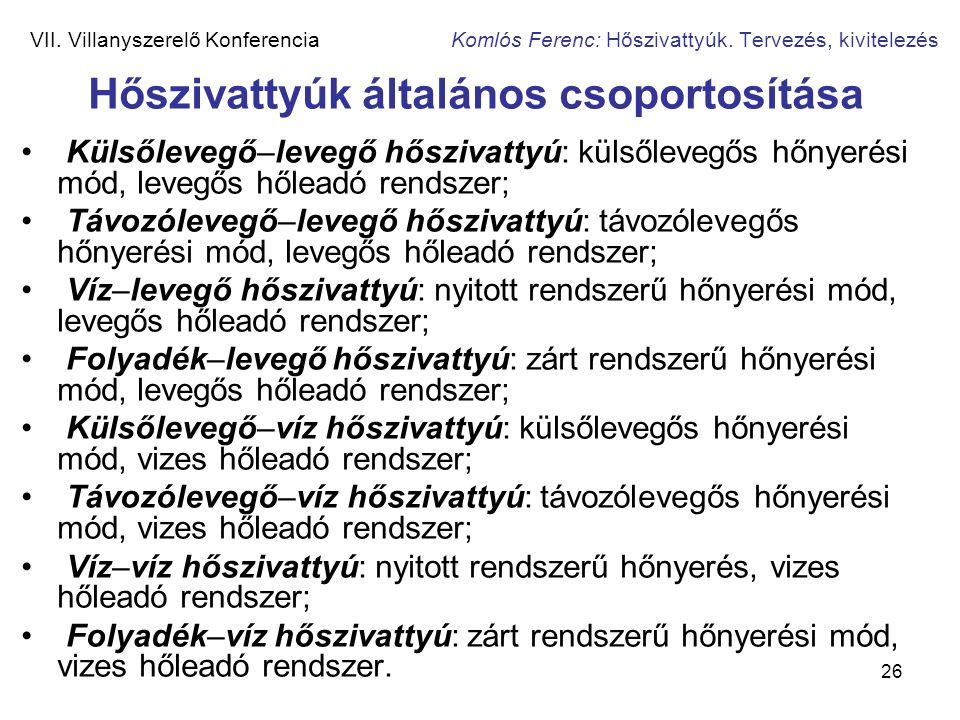 26 VII. Villanyszerelő Konferencia Komlós Ferenc: Hőszivattyúk. Tervezés, kivitelezés Hőszivattyúk általános csoportosítása • Külsőlevegő–levegő hőszi