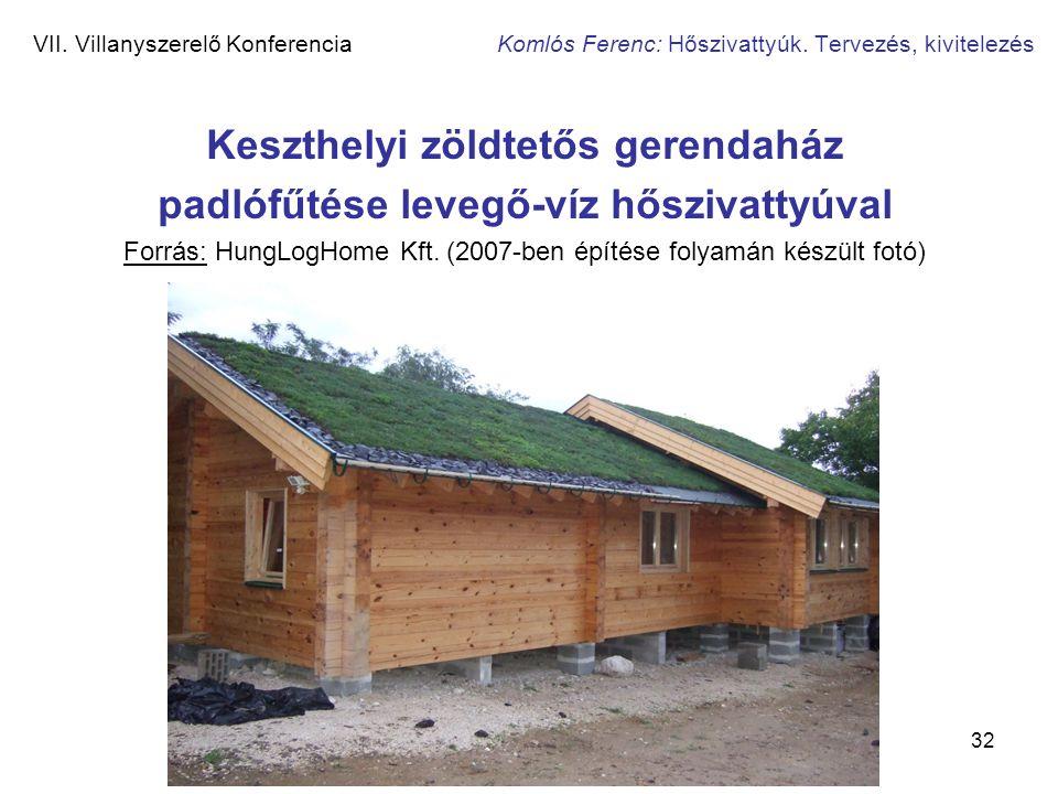 32 VII. Villanyszerelő Konferencia Komlós Ferenc: Hőszivattyúk. Tervezés, kivitelezés Keszthelyi zöldtetős gerendaház padlófűtése levegő-víz hőszivatt
