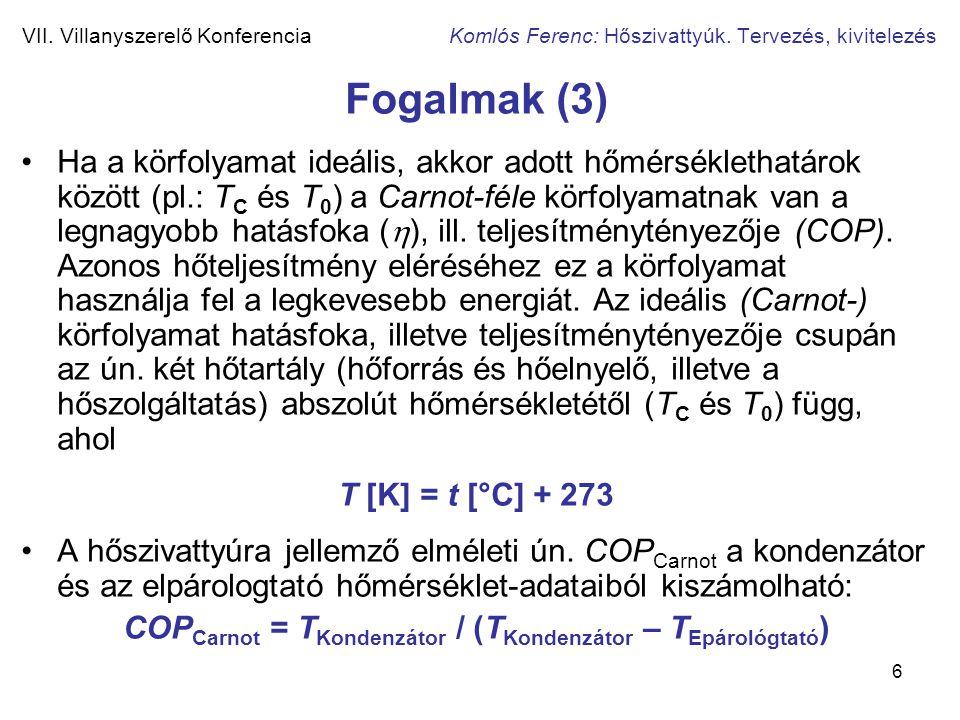 6 VII. Villanyszerelő Konferencia Komlós Ferenc: Hőszivattyúk. Tervezés, kivitelezés Fogalmak (3) •Ha a körfolyamat ideális, akkor adott hőmérsékletha