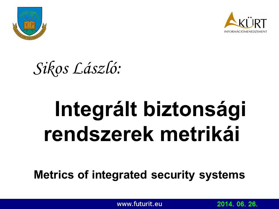 Copyright © 2006 IBKFK (PE MIK, KÜRT ZRt.) Integrált biztonsági rendszerek metrikái Sikos László: www.futurit.eu Metrics of integrated security systems 2014.