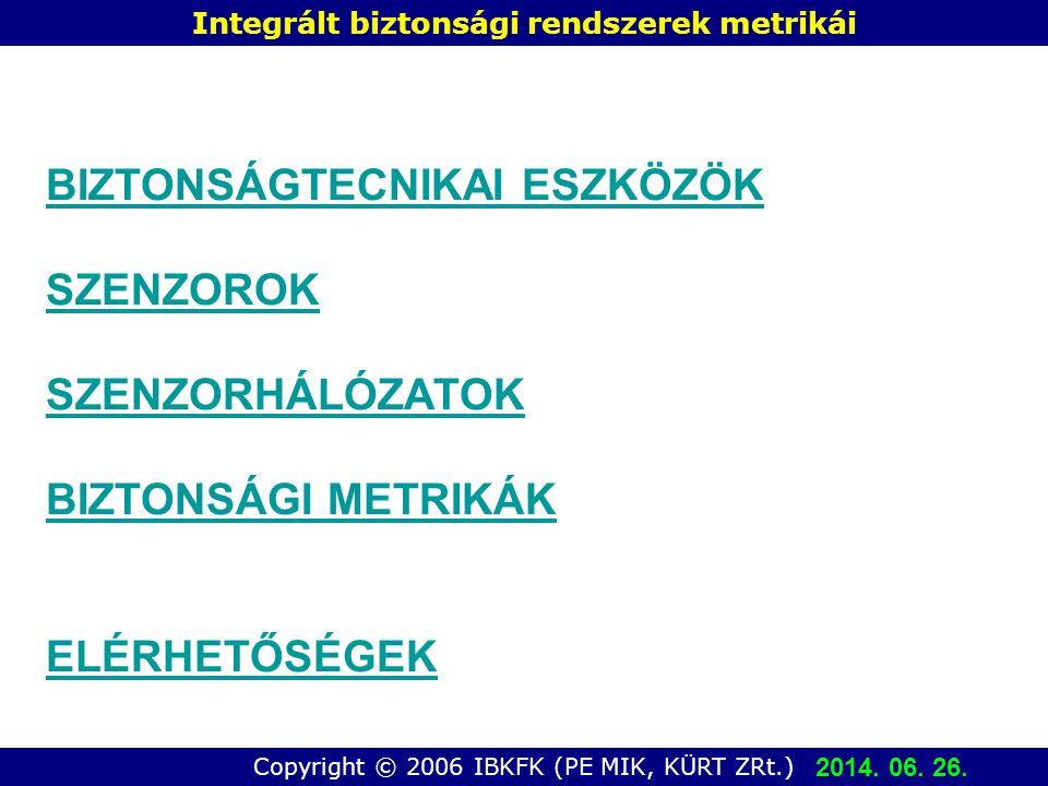 Copyright © 2006 IBKFK (PE MIK, KÜRT ZRt.) Integrált biztonsági rendszerek metrikái BIZTONSÁGTECNIKAI ESZKÖZÖK SZENZOROK SZENZORHÁLÓZATOK BIZTONSÁGI METRIKÁK ELÉRHETŐSÉGEK 2014.
