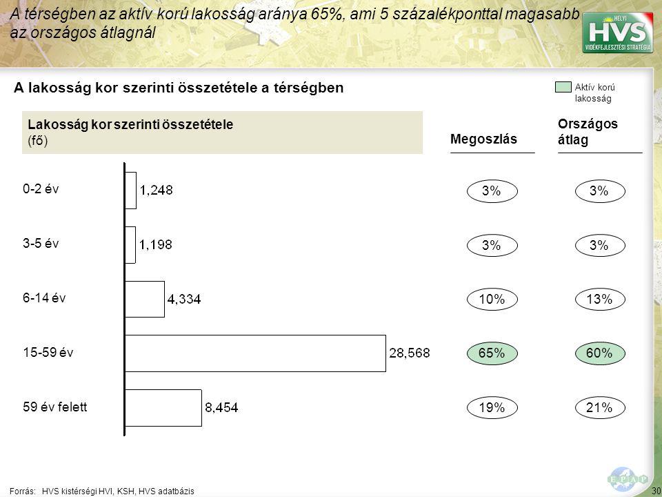 30 Forrás:HVS kistérségi HVI, KSH, HVS adatbázis A lakosság kor szerinti összetétele a térségben A térségben az aktív korú lakosság aránya 65%, ami 5 százalékponttal magasabb az országos átlagnál Lakosság kor szerinti összetétele (fő) Megoszlás 3% 65% 19% 10% Országos átlag 3% 60% 21% 13% Aktív korú lakosság 0-2 év 3-5 év 6-14 év 15-59 év 59 év felett