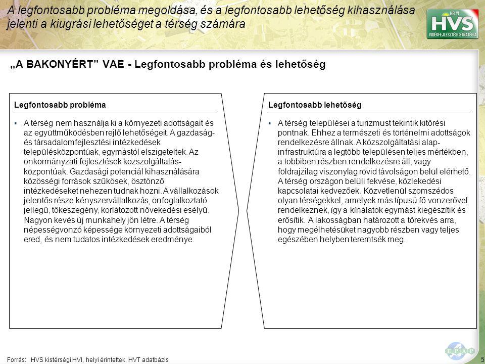 """5 """"A BAKONYÉRT VAE - Legfontosabb probléma és lehetőség A legfontosabb probléma megoldása, és a legfontosabb lehetőség kihasználása jelenti a kiugrási lehetőséget a térség számára Forrás:HVS kistérségi HVI, helyi érintettek, HVT adatbázis Legfontosabb problémaLegfontosabb lehetőség ▪A térség nem használja ki a környezeti adottságait és az együttműködésben rejlő lehetőségeit."""