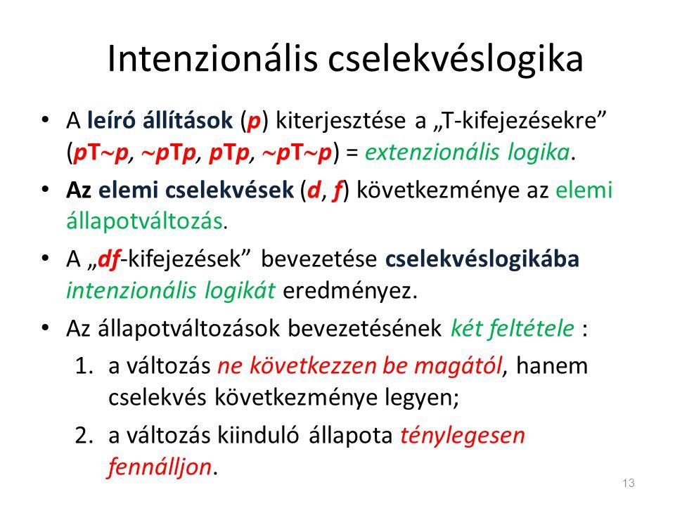 """Intenzionális cselekvéslogika • A leíró állítások (p) kiterjesztése a """"T-kifejezésekre"""" (pT  p,  pTp, pTp,  pT  p) = extenzionális logika. • Az el"""