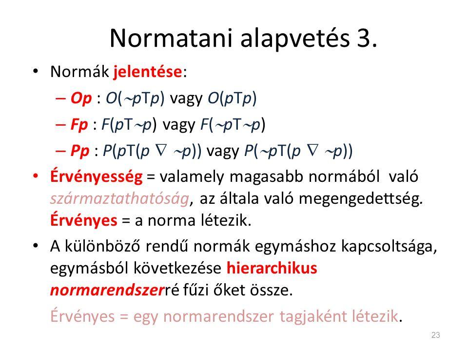 Normatani alapvetés 3. • Normák jelentése: – Op : O(  pTp) vagy O(pTp) – Fp : F(pT  p) vagy F(  pT  p) – Pp : P(pT(p   p)) vagy P(  pT(p   p)