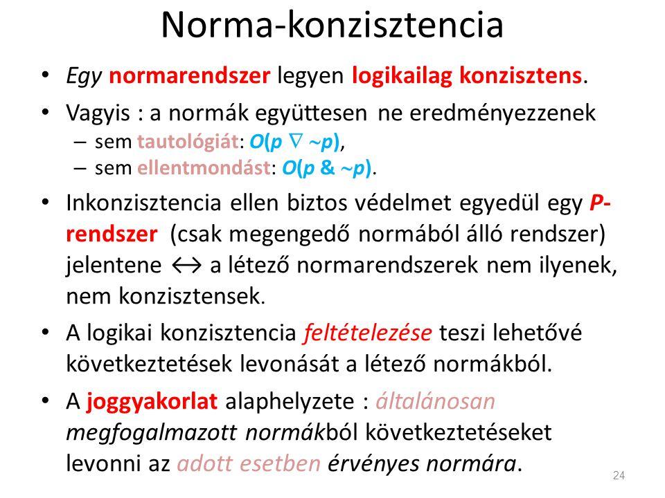 Norma-konzisztencia • Egy normarendszer legyen logikailag konzisztens.