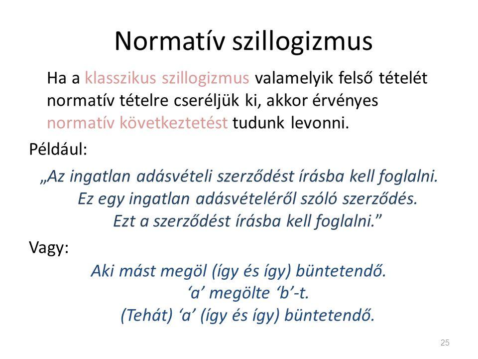 Normatív szillogizmus Ha a klasszikus szillogizmus valamelyik felső tételét normatív tételre cseréljük ki, akkor érvényes normatív következtetést tudu
