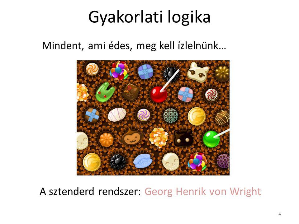 Gyakorlati logika 4 Mindent, ami édes, meg kell ízlelnünk… A sztenderd rendszer: Georg Henrik von Wright