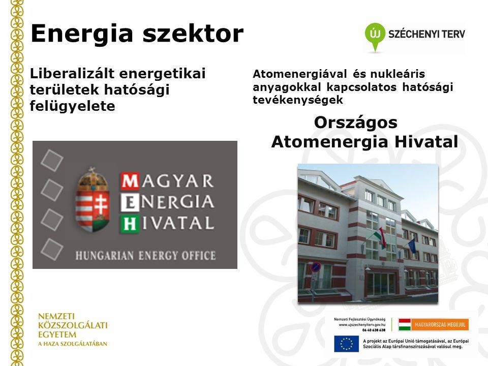 Energia szektor Liberalizált energetikai területek hatósági felügyelete Atomenergiával és nukleáris anyagokkal kapcsolatos hatósági tevékenységek Országos Atomenergia Hivatal