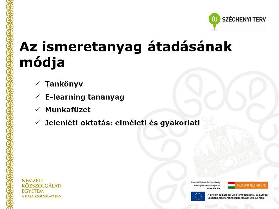 Az ismeretanyag átadásának módja  Tankönyv  E-learning tananyag  Munkafüzet  Jelenléti oktatás: elméleti és gyakorlati