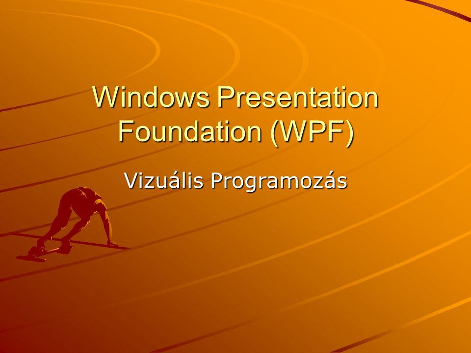J.Zs.Cs.: Vizuális programozás (c) 2012 WPF Új grafikus alrendszer 2D és 3D grafika DokumentumokMédia Teljesen vektorgrafika orientált  könnyen nagyítható (pl.