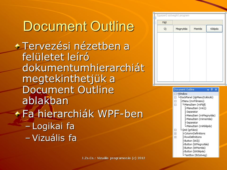 Document Outline Tervezési nézetben a felületet leíró dokumentumhierarchiát megtekinthetjük a Document Outline ablakban Fa hierarchiák WPF-ben –Logika
