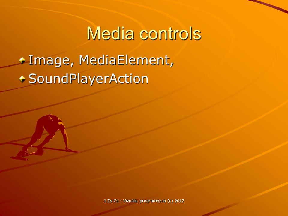 Media controls Image, MediaElement, SoundPlayerAction J.Zs.Cs.: Vizuális programozás (c) 2012