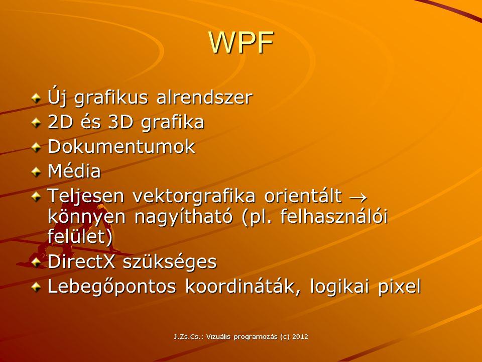 J.Zs.Cs.: Vizuális programozás (c) 2012 WPF Új grafikus alrendszer 2D és 3D grafika DokumentumokMédia Teljesen vektorgrafika orientált  könnyen nagyí