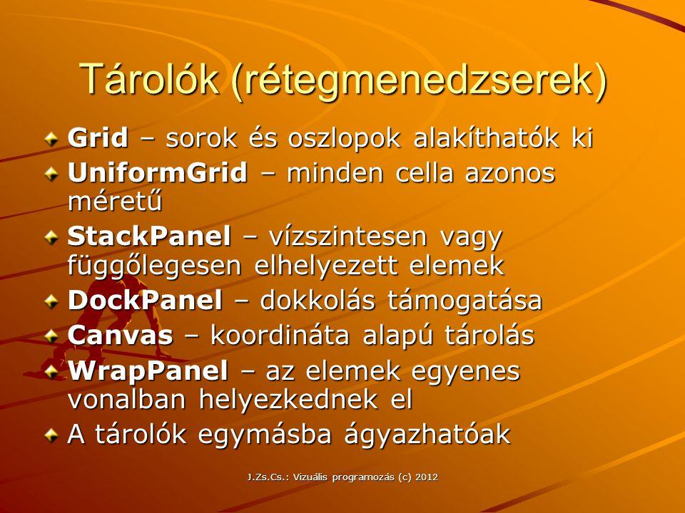 Tárolók (rétegmenedzserek) Grid – sorok és oszlopok alakíthatók ki UniformGrid – minden cella azonos méretű StackPanel – vízszintesen vagy függőlegese