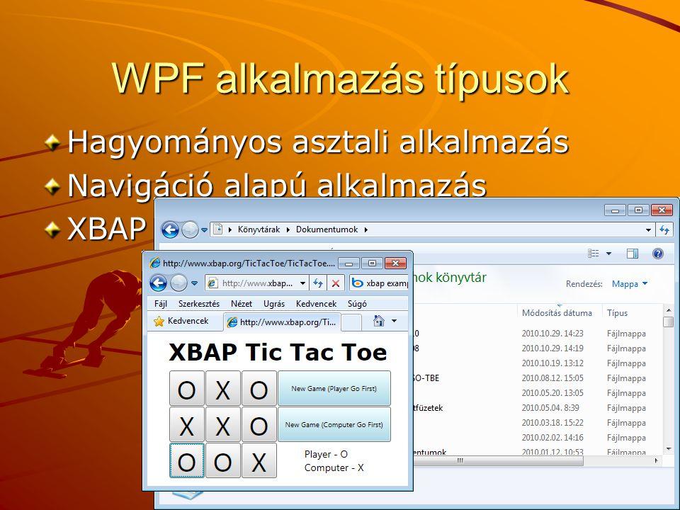 Application osztály System.Windows.ApplicationTulajdonságok: Current – a futó alkalmazás objektum – pl.