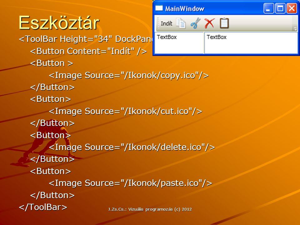 Eszköztár </Button><Button> </Button><Button> </Button><Button> </Button></ToolBar> J.Zs.Cs.: Vizuális programozás (c) 2012