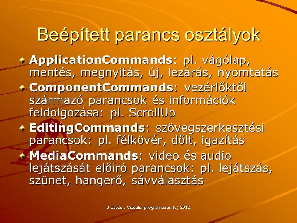 J.Zs.Cs.: Vizuális programozás (c) 2012 Beépített parancs osztályok ApplicationCommands: pl. vágólap, mentés, megnyitás, új, lezárás, nyomtatás Compon