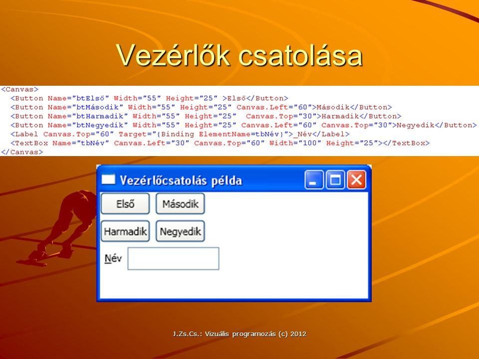 J.Zs.Cs.: Vizuális programozás (c) 2012 Vezérlők csatolása