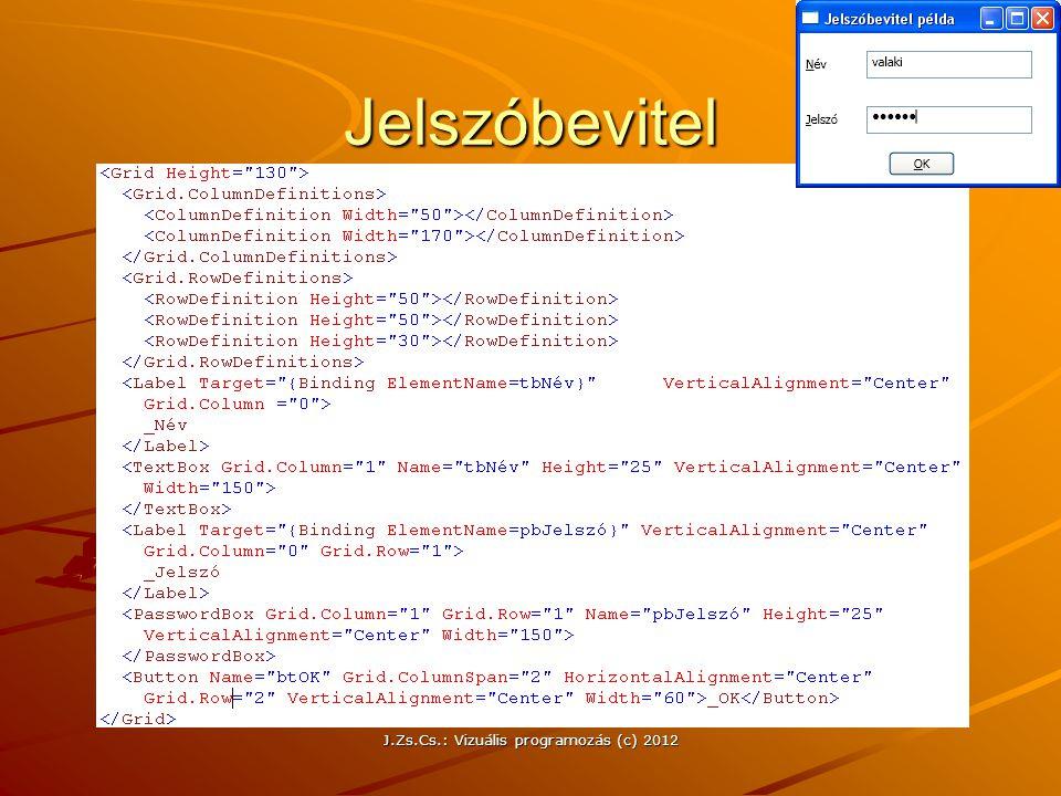 J.Zs.Cs.: Vizuális programozás (c) 2012 Jelszóbevitel