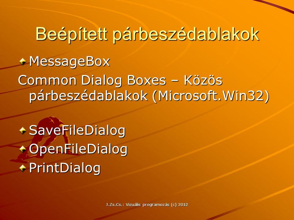 Beépített párbeszédablakok MessageBox Common Dialog Boxes – Közös párbeszédablakok (Microsoft.Win32) SaveFileDialogOpenFileDialogPrintDialog J.Zs.Cs.: