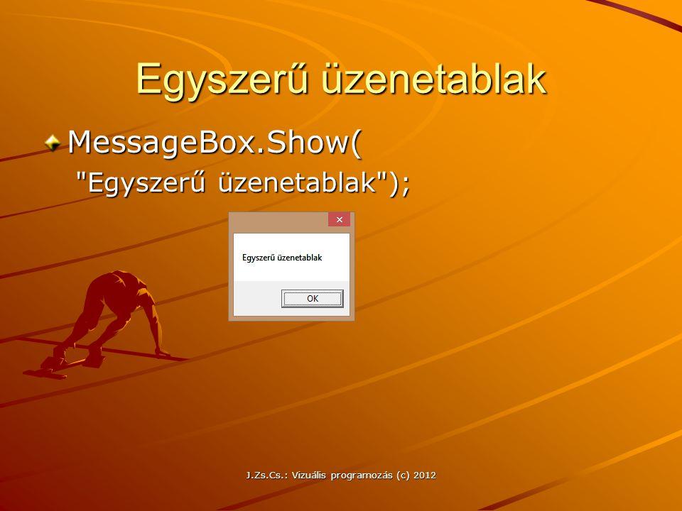 Egyszerű üzenetablak MessageBox.Show(