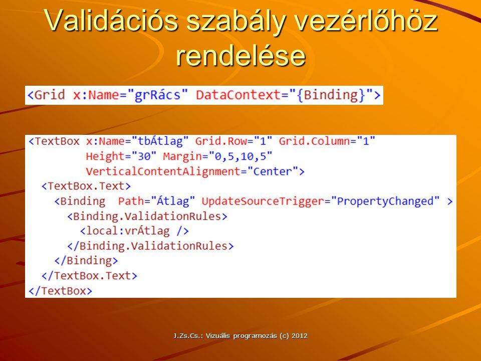 Validációs szabály vezérlőhöz rendelése J.Zs.Cs.: Vizuális programozás (c) 2012