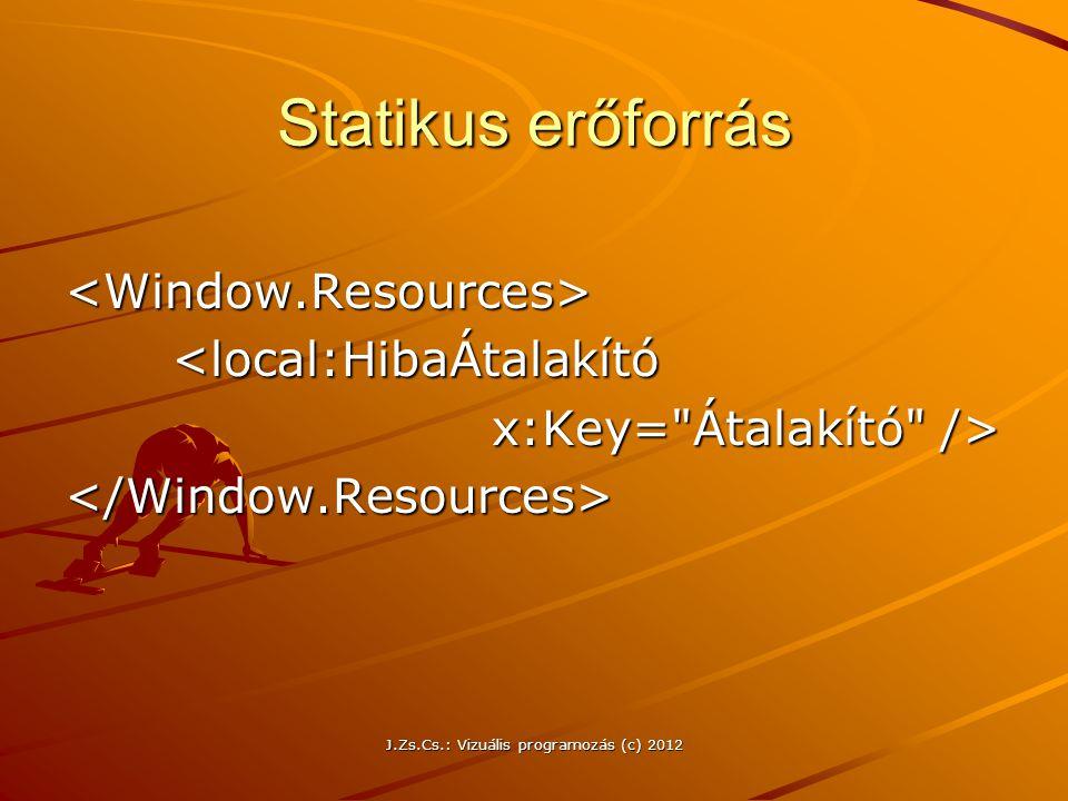 Statikus erőforrás <Window.Resources><local:HibaÁtalakító x:Key=
