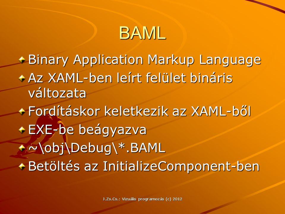 Hivatkozás a nyomógombra a kódban –XAML-ben Name= btPróba attribútum –Az eseménykezelőben btPróba.Background = Brushes.Red; btPróba.Content = Felirat ; J.Zs.Cs.: Vizuális programozás (c) 2012