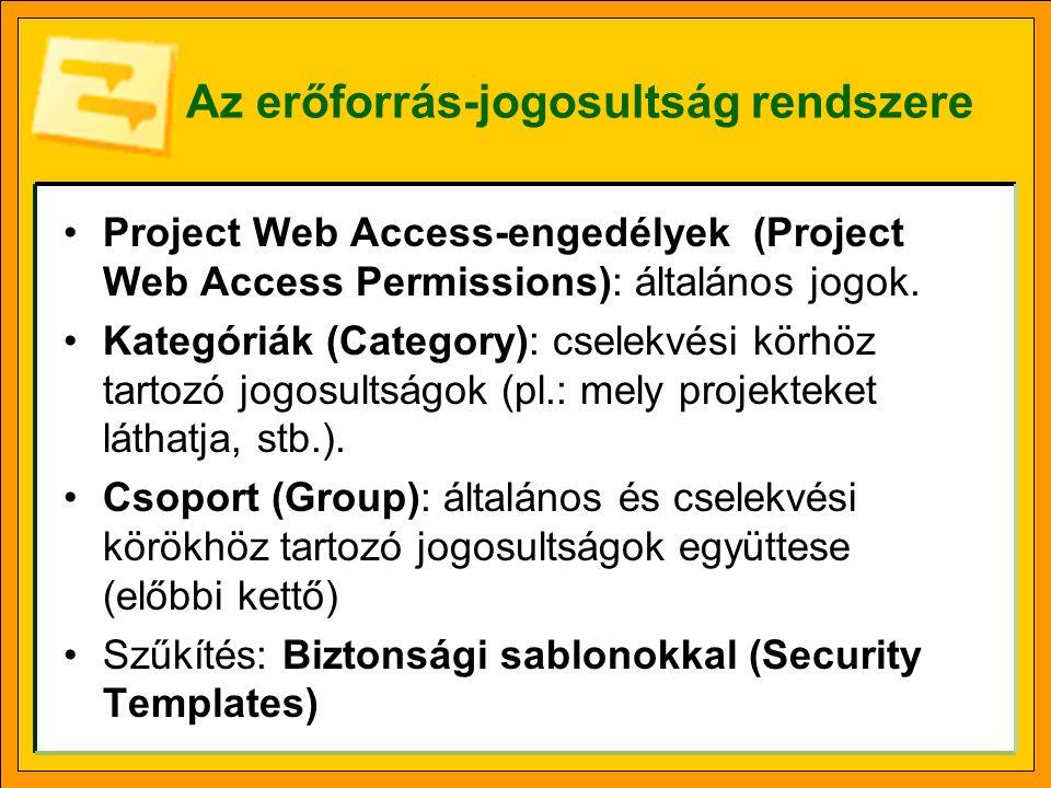 Az erőforrás-jogosultság rendszere •Project Web Access-engedélyek (Project Web Access Permissions): általános jogok.