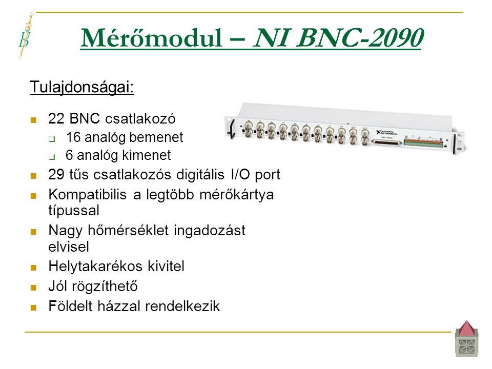 Mérőmodul – NI BNC-2090 Tulajdonságai:  22 BNC csatlakozó  16 analóg bemenet  6 analóg kimenet  29 tűs csatlakozós digitális I/O port  Kompatibilis a legtöbb mérőkártya típussal  Nagy hőmérséklet ingadozást elvisel  Helytakarékos kivitel  Jól rögzíthető  Földelt házzal rendelkezik