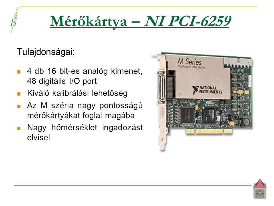 Mérőkártya – NI PCI-6259 Tulajdonságai:  4 db 16 bit-es analóg kimenet, 48 digitális I/O port  Kiváló kalibrálási lehetőség  Az M széria nagy pontosságú mérőkártyákat foglal magába  Nagy hőmérséklet ingadozást elvisel
