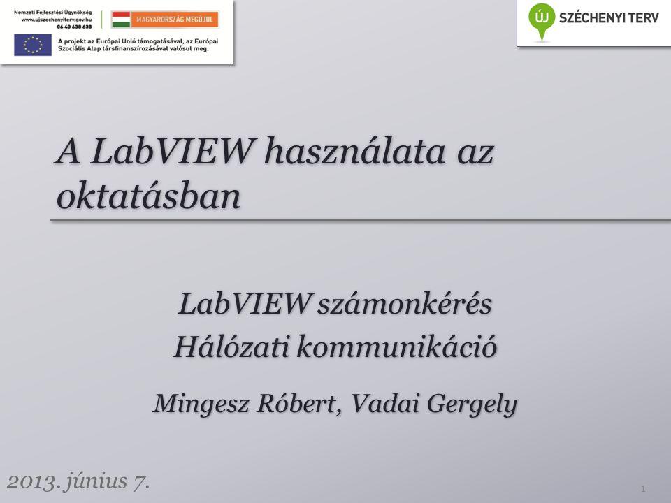 A LabVIEW használata az oktatásban LabVIEW számonkérés Hálózati kommunikáció LabVIEW számonkérés Hálózati kommunikáció 1 Mingesz Róbert, Vadai Gergely 2013.