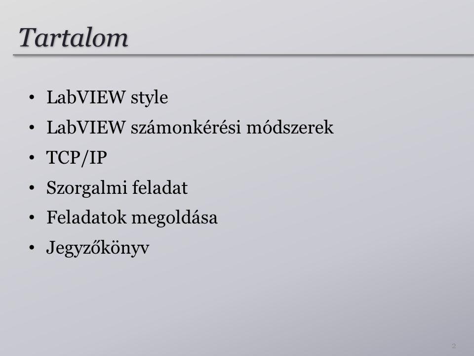 Tartalom • LabVIEW style • LabVIEW számonkérési módszerek • TCP/IP • Szorgalmi feladat • Feladatok megoldása • Jegyzőkönyv 2
