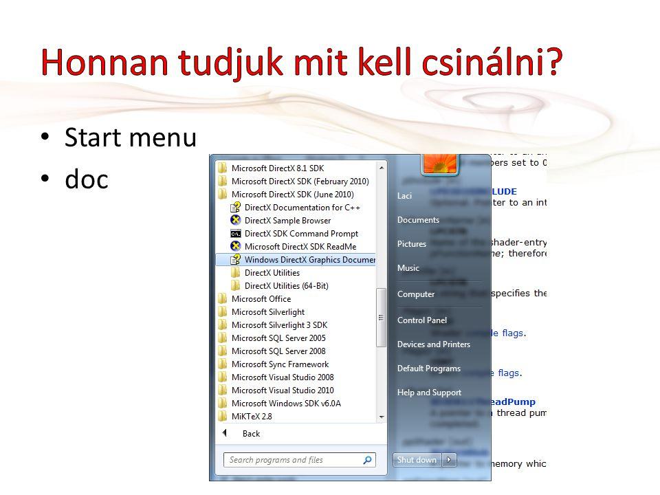 • Start menu • doc