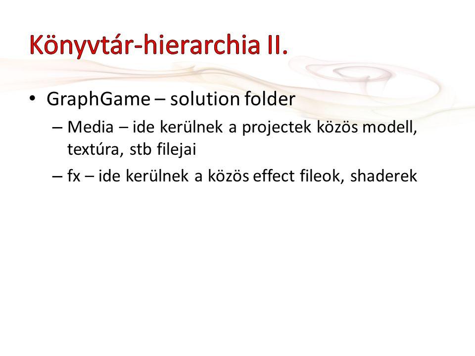 • GraphGame – solution folder – Media – ide kerülnek a projectek közös modell, textúra, stb filejai – fx – ide kerülnek a közös effect fileok, shadere