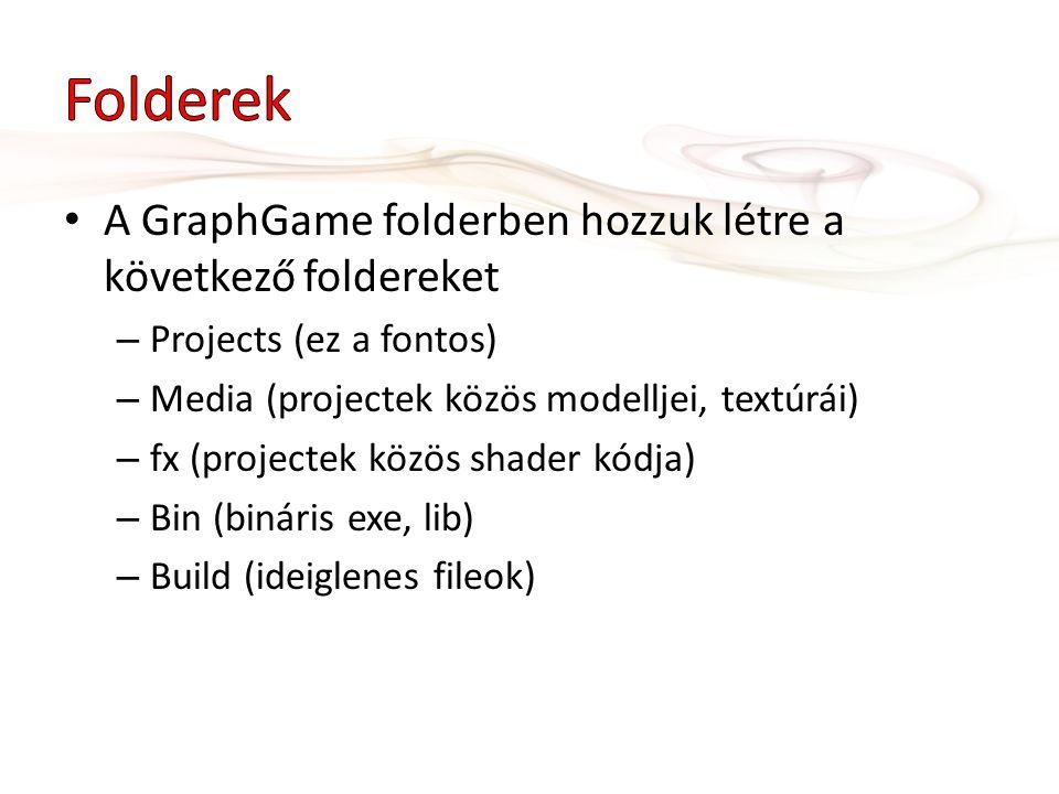 • A GraphGame folderben hozzuk létre a következő foldereket – Projects (ez a fontos) – Media (projectek közös modelljei, textúrái) – fx (projectek köz