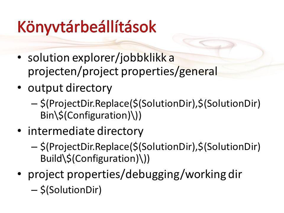• solution explorer/jobbklikk a projecten/project properties/general • output directory – $(ProjectDir.Replace($(SolutionDir),$(SolutionDir) Bin\$(Con