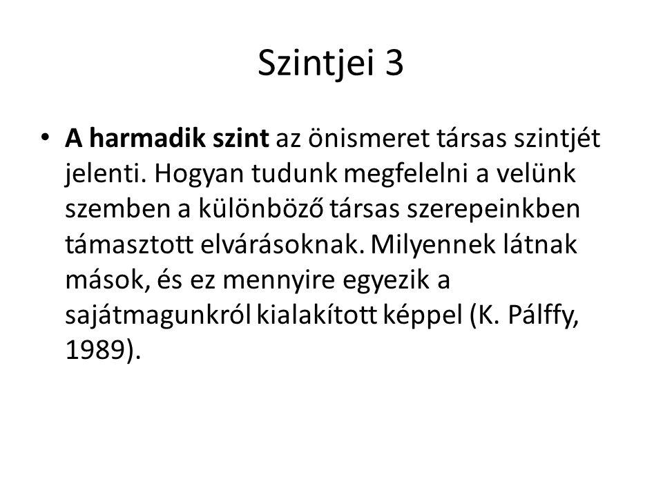 Szintjei 3 • A harmadik szint az önismeret társas szintjét jelenti. Hogyan tudunk megfelelni a velünk szemben a különböző társas szerepeinkben támaszt