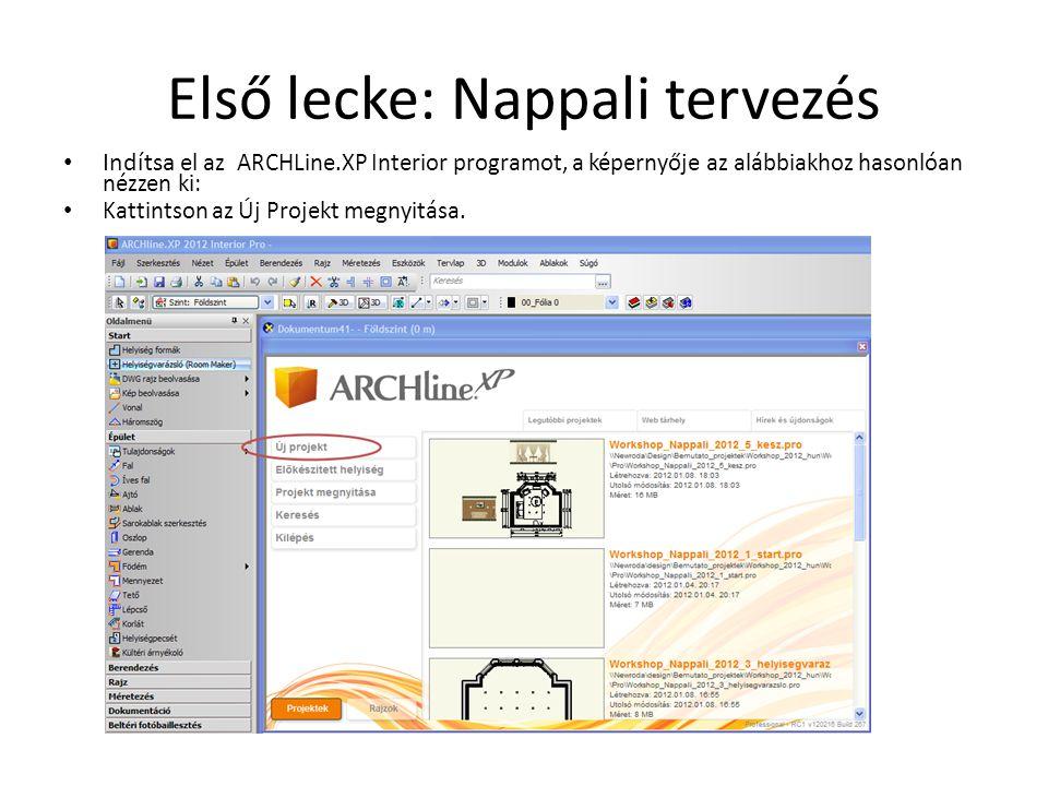 Első lecke: Nappali tervezés • Indítsa el az ARCHLine.XP Interior programot, a képernyője az alábbiakhoz hasonlóan nézzen ki: • Kattintson az Új Proje