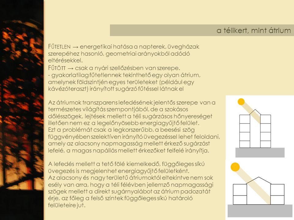 a télikert, mint átrium F ŰTETLEN → energetikai hatása a napterek, üvegházak szerepéhez hasonló, geometriai arányokból adódó eltérésekkel. F ŰTÖTT → c