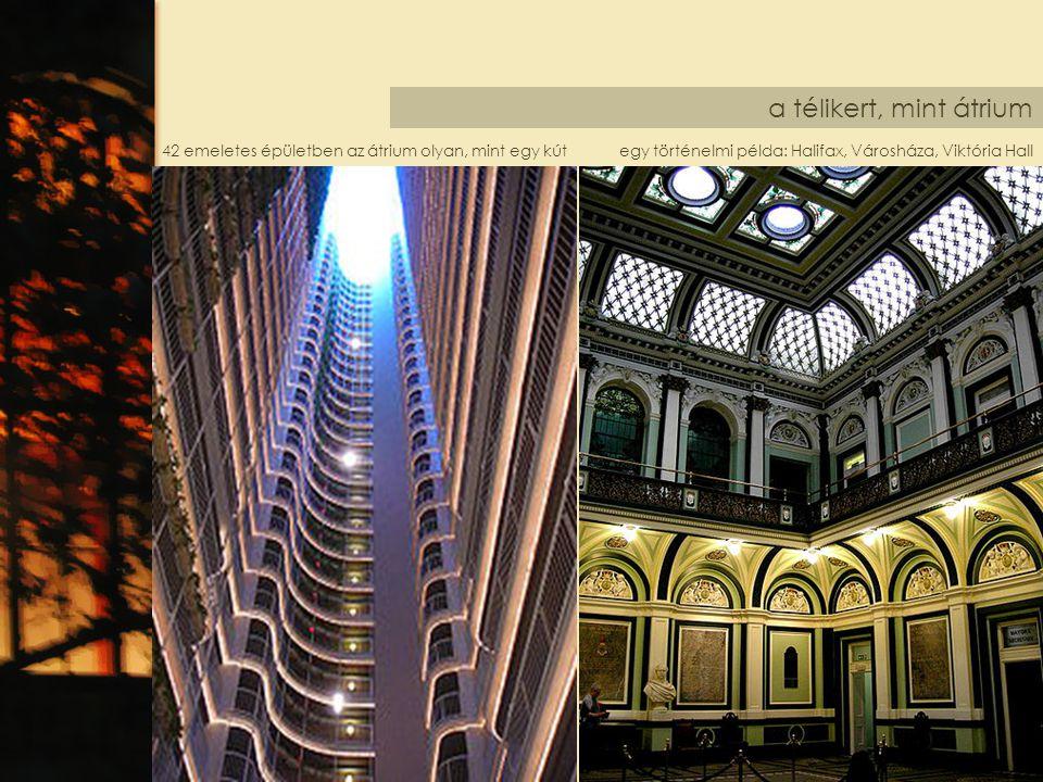 a télikert, mint átrium egy történelmi példa: Halifax, Városháza, Viktória Hall42 emeletes épületben az átrium olyan, mint egy kút